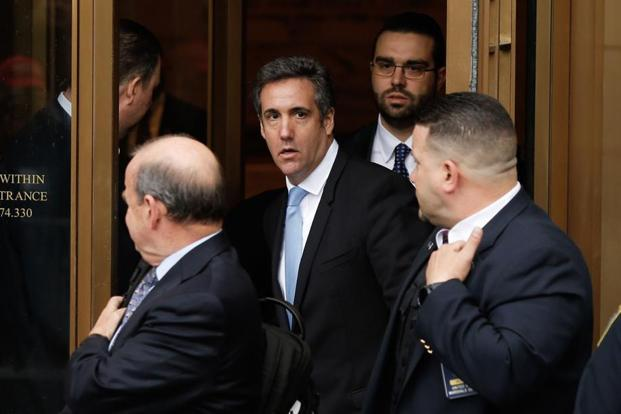 Donald  Trump's lawyer Michael Cohen exits the US Federal Court, in Lower Manhattan, New York. Photo: AFP