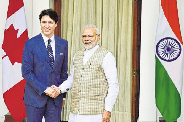 A file photo of the meeting between Prime Minister Narendra Modi and his Canadian counterpart Justin Trudeau. Photo: Hindustan Times