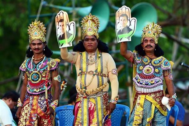 Artists dressed as Ramayan characters during Congress president Rahul Gandhi's public rally in Bengaluru recently. Photo: PTI