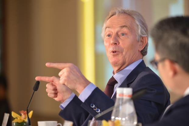 Former British prime minister Tony Blair at the MintAsia-Hindustan Times Leadership Summit.