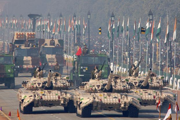 T-72 tanks, produced by Russia and used by the Indian Army, roll down the Rajpath during the Republic Day parade in New Delhi. File photo: Bloomberg