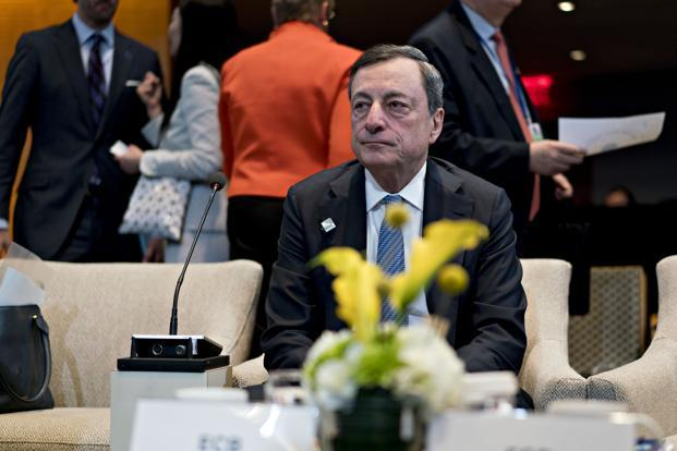 Mario Draghi, president of the European Central Bank (ECB), attends the International Monetary Fund Committee (IMFC) plenary session at the spring meetings of the International Monetary Fund (IMF) and World Bank in Washington, D.C., on Saturday. Photo: Bloomberg