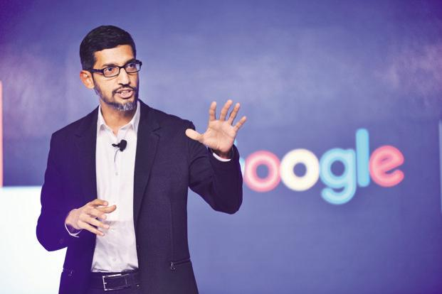 The award swelled in value as Alphabet's stock surged 90% since the grant date, compared with a 39% advance of the S&P 500. CEO Sundar Pichai has received two more nine-figure stock grants since then. Photo: Pradeep Gaur/Mint
