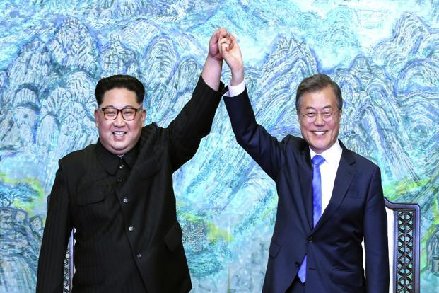 Kim Jong Un (left) and Moon Jae-in after signing a joint declaration at the border village in the Demilitarized Zone. The focus now shifts to North Korean leader Kim's expected meeting in May or June with Donald Trump. Photo: AP