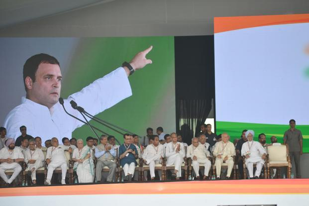 Congress president Rahul Gandhi addressing the Jan Aakrosh rally at Ramilia Maidan in Delhi. Top leaders of the Congress Party sitting in the foreground. Photo: Ramesh Pathania/Mint
