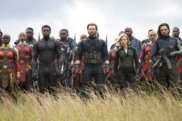 "An image released by Marvel Studios shows, front row from left, Danai Gurira, Chadwick Boseman, Chris Evans, Scarlet Johansson and Sebastian Stan in a scene from ""Avengers: Infinity War' . Photo: AP"