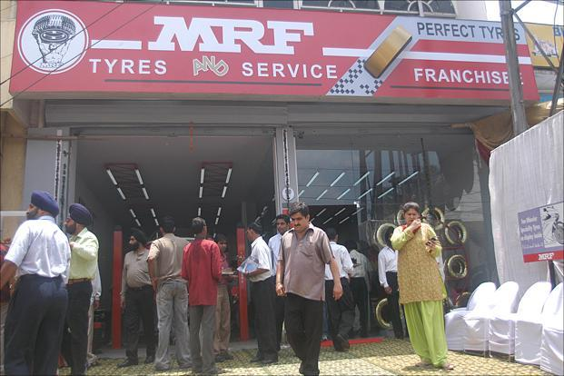 Shares of MRF ended 3.39% down at Rs77,045.75 on BSE. Photo: HT