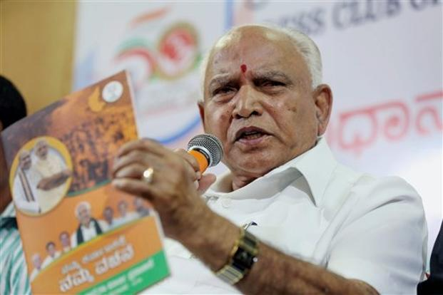 BJP's Karnataka president and chief ministerial candidate B.S. Yeddyurappa speaks during a press meet ahead of the Karnataka Assembly election 2018 in Bengaluru on Sunday. Photo: PTI