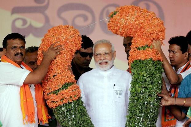 PM Narendra Modi said despite disappointing news being spread that there will be a hung assembly, Karnataka BJP workers have played a key role in maintaining the atmosphere of enthusiasm in favour of the party. Photo: PTI
