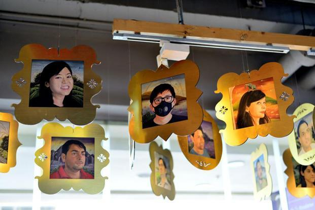 Pichwai-style illustrations of Wieden+Kennedy staff by artist Mahendra Kumar. Photo: Pradeep Gaur/Mint