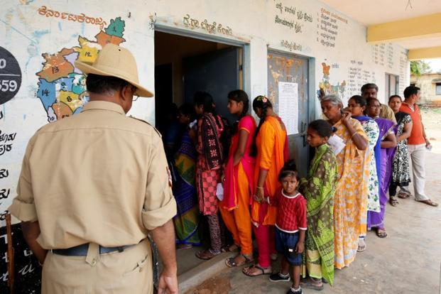 A polling station in rural Bengaluru on Saturday. Photo: Reuters