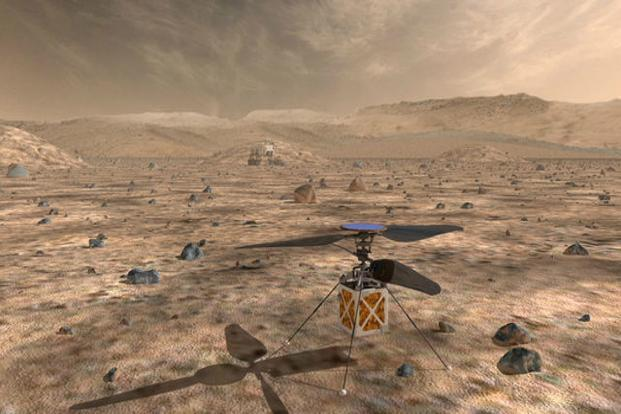 Nasa's Mars Helicopter, a small, autonomous rotorcraft, will travel with the agency's Mars 2020 rover, currently scheduled to launch in July 2020, to demonstrate the viability and potential of heavier-than-air vehicles on the Red Planet. Photo: Courtesy NASA/JPL-Caltech