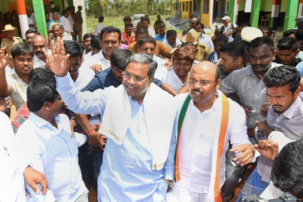 Karnataka chief minister Siddaramaiah after voting in the Karnataka Assembly Elections at Hundi village Mysuru on Saturday