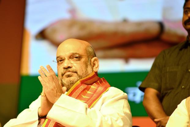 BJP president Amit Shah accused Congress of 'murdering democracy' in the aftermath of the Karnataka assembly election results. Photo: Ramesh Pathania/Mint