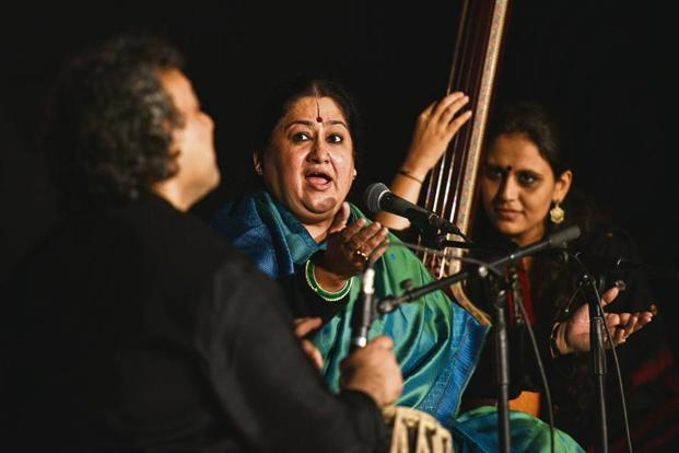 Shubha Mudgal in performance. Photo: Anushree Fadnavis/Hindustan Times