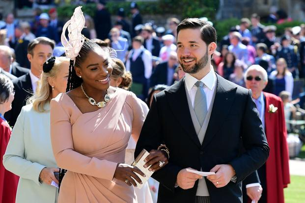 Serena Williams with husband Alexis Ohanian arrive for the wedding ceremony of Britain's Prince Harry, Duke of Sussex and US actress Meghan Markle at St. George's Chapel, Windsor Castle, in Windsor, on Saturday. Photo: AP