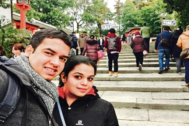 Shruti Khattar with her husband Saket Kumar in Switzerland.
