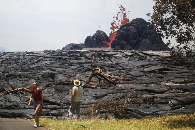 The destructive fury of the erupting Kilauea volcano was unleashed on the Big Island's Leilani Estates housing development. Photo: AFP