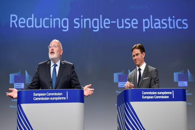 European commission first vice president Frans Timmermans (L) and vice president Jyrki Katainen at a press conference on legislative measures to fight against single use plastics at the EU headquarters in Brussels on Monday. Photo: AFP