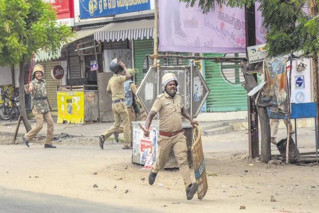 Police personnel resorts to lathi charge during the Sterlite protests on Thursday, 24 May 2018. Photo: PTI