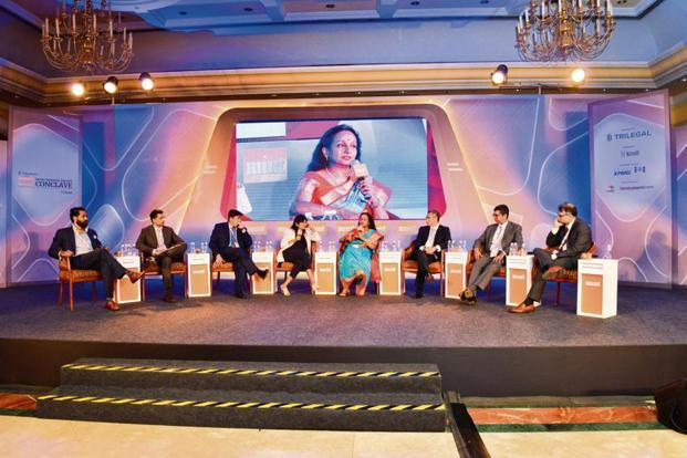 (From left) Sandeep Naik, managing director and head (India and Asia-Pacific), General Atlantic; Kunal Shroff, managing partner at ChrysCapital;  Manish Kejriwal, managing partner of Kedaara Capital; Shrija Agarwal, national deals editor, Mint; Renuka Ramnath, founder, managing director and chief executive officer, Multiples Alternate Asset Management; Atul Kapur, co-founder and chief investment officer, Everstone Group; Vishal Mahadevia, managing director and head (India), Warburg Pincus; and Srikrishna Dwaram, partner, True North at the Mint India Private Equity Conclave 2018 in Mumbai.Photo: Aniruddha Chowdhury/Mint