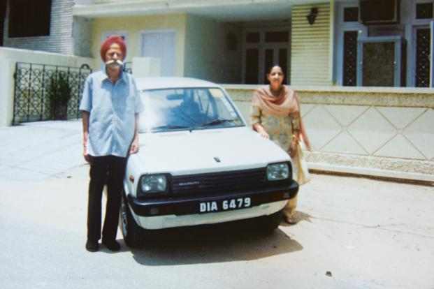 The first Maruti 800 owned by Harpal Singh and his wife Gulshan. Suzuki began its automobile production in India in December 1983 with its first model, the Maruti 800 by Maruti Udyog. Photo: Raj K. Raj/HT