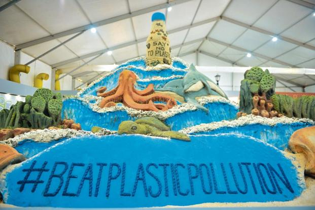 A sand sculpture by Sudarshan Pattnaik for World Environment Day. Photo: Priyanka Parashar/Mint