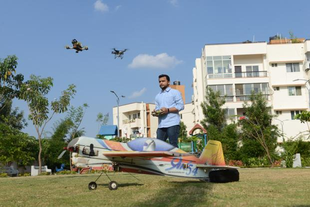 Bhavesh Sangani with his drones. Photo: Hemant Mishra/Mint