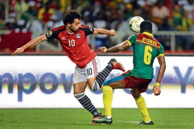 A 2017 photo of Egypt's Mohamed Salah (left) in action against Cameroon during an African Cup of Nations match. Photo: AP