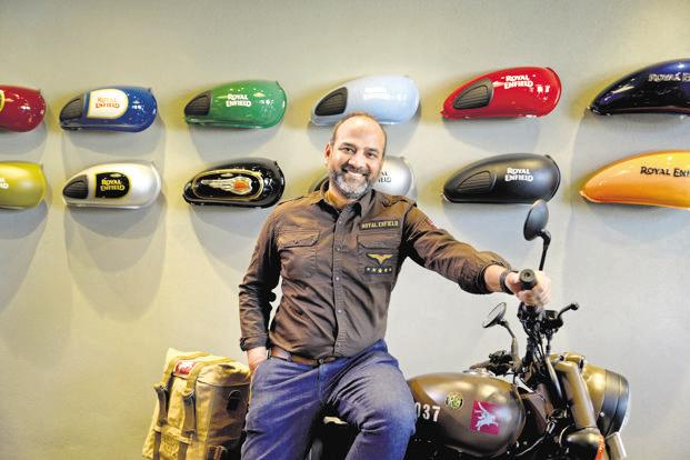 Royal Enfield president Rudratej Singh with the Pegasus Classic 500 that is inspired by the Flying Flea bikes of World War II. Photo: Abhijit Bhatlekar/Mint
