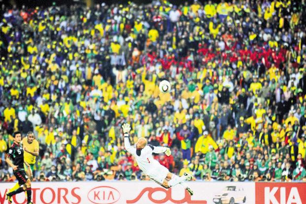 Siphiwe Tshabalala opens the scoring at the 2010 World Cup. Photo: AFP