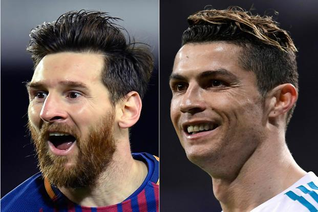 Cristiano Ronaldo (right) has scored three times in three world cups for Portugal for and Argentina's Lionel Messi five times in three world cups. Photo: AFP