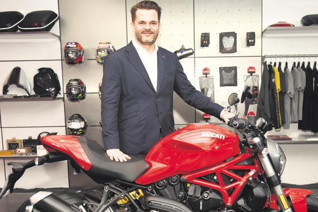 Ducati India MD Sergi Canovas with the Monster 821.