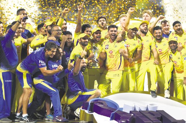The IPL final alone attracted 173 million viewers, 43% more year-on-year - or about 56 million so-called impressions on a time-weighted basis, growing at a similar pace. Above, the Chennai Super Kings, the winners of the IPL 2018 edition. Photo: AP