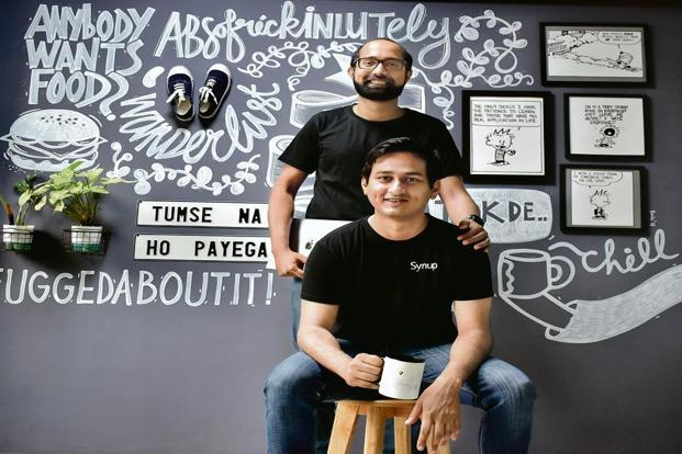 Ashwin Ramesh (sitting), founder of Synup, with Raison D'Souza, who had advice on how to look for talent. Photo: Jithendra M/Mint