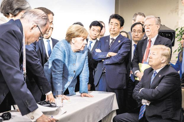 Image result for trump, merkel, g-7, canada, photos