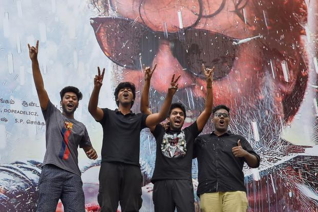 Rajinikanth fans celebrate the release of his film 'Kaala', in Chennai on 7 June 2018. Photo: PTI