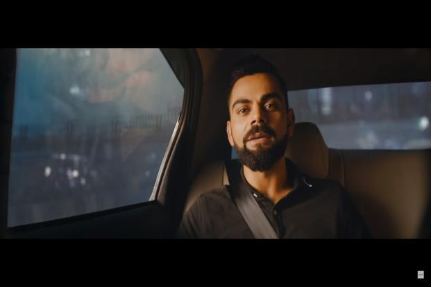 A screen grab of the new Uber ad featuring Indian cricket captain Virat Kohli.
