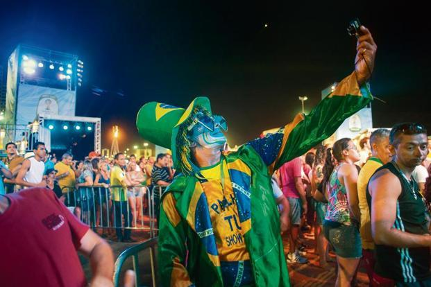 A fan taking a 'selfie' during the inauguration of the Fifa Fan Fest in Fortaleza. Photo: Reuters