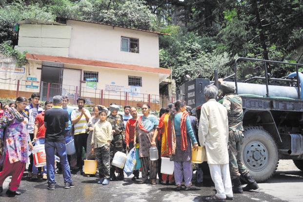 After weeks of shortage, authorities have now enforced water rationing in Shimla. Photo: AFP