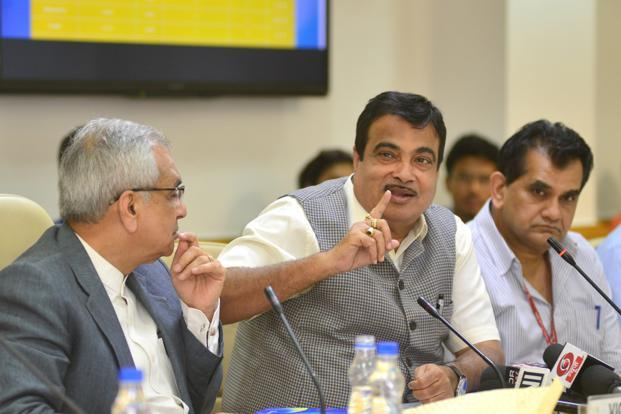 Union minister Nitin Gadkari after releasing a report on 'Composite Water Management Index' at Niti Aayog in New Delhi on Thursday. Photo: Ramesh Pathania/Mint