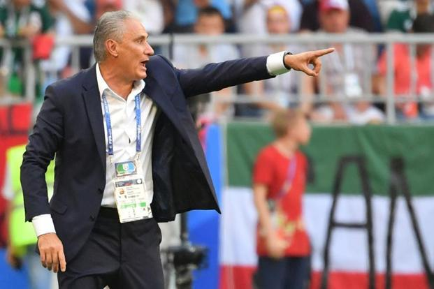 Brazil's coach Tite shouts instructions to his players during the Russia 2018 World Cup round of 16 football match between Brazil and Mexico at the Samara Arena in Samara on 2 July 2018