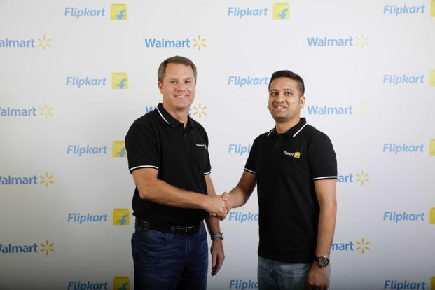 Walmart's Doug Mcmillon with Flipkart's Binny Bansal. The Flipkart-Walmart deal gives the US retail giant access to India's fast-growing e-commerce market as the company tries to challenge Amazon.com Inc. Photo: AFP