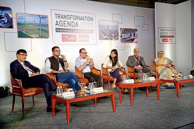 (From left) Vishwas Udgirkar, Reuben Abraham, Ajoy Mehta, Shrija Agrawal, Manish Agarwal, and Sulakshana Mahajan at the Danfoss-Mint Transformation Agenda 2020 in Mumbai.