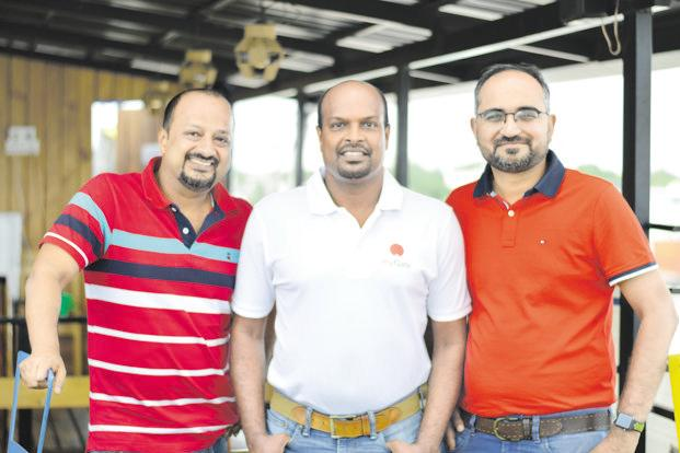 (From left) MyGate founders Abhishek Kumar, Vijay Arisetty and Shreyans Daga.