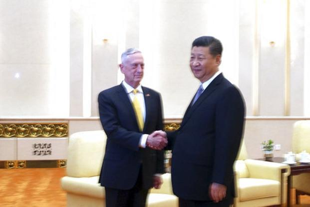 US defence secretary Jim Mattis (left) with Chinese President Xi Jinping before a meeting at the Great Hall of the People in Beijing on 27 June 2018. Photo: AP
