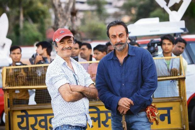 Raju Hirani on set with (right) Ranbir Kapoor as Sanjay Dutt having just stepped out of prison.