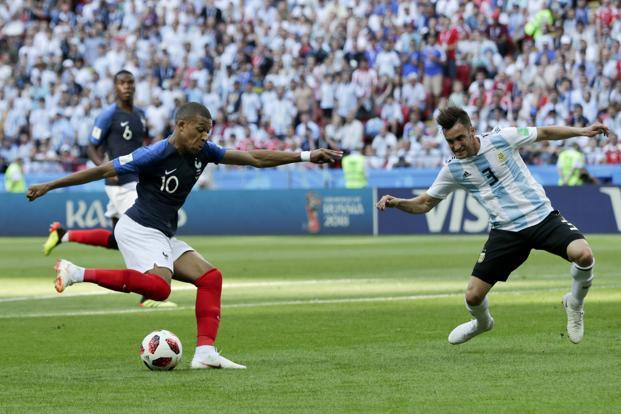 Kylian Mbappe, 19, netted two goals in four second-half minutes to become the first teenager to score at least twice in a World Cup match since Pele in 1958. Photo: AP