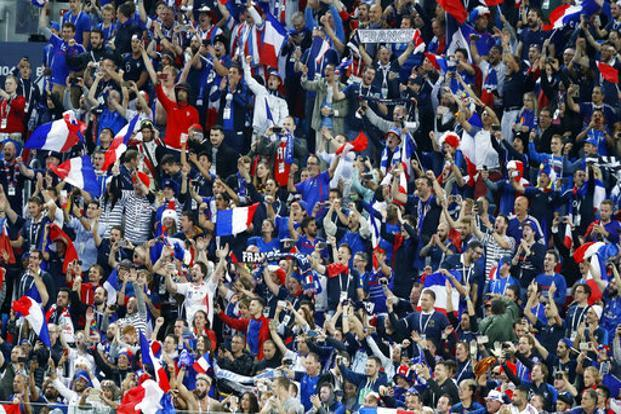 France supporters during their semi-final clash against Belgium on Tuesday. Photo: AP