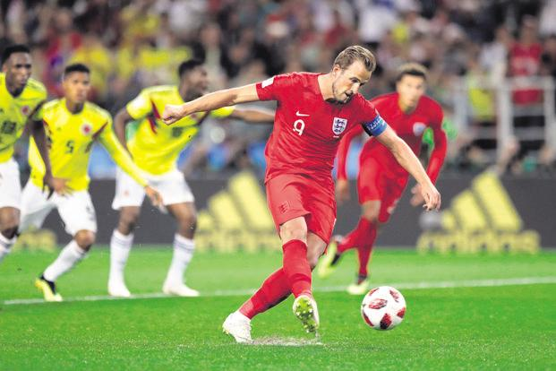 England captain Harry Kane takes a penalty during their World Cup round of 16 match against Colombia on 3 July. Photo: AP